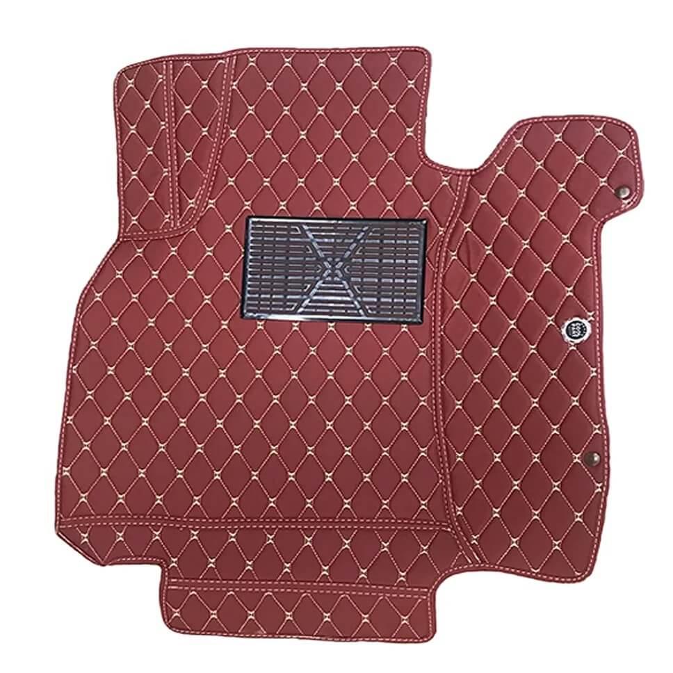 ковры из экокожи красные с светлой строчкой