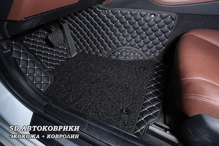 5d автоковрики из черной экокожи с бежевой строчкой