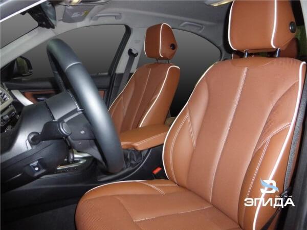 перетяжка сидений BMW3 коричневая кожа в ижевске