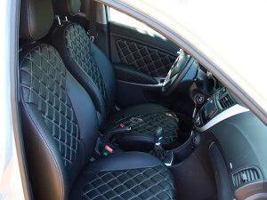 Авточехлы черные из экокожи с ромбами